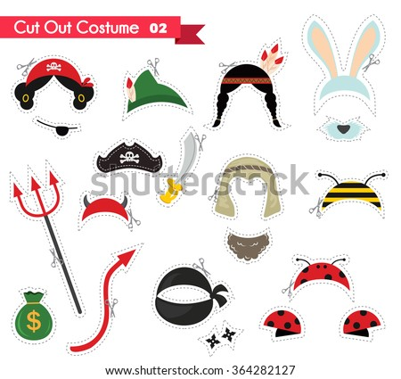 paper cut out for kids with costume  accessories . can be used as a props for a themed party - stock vector