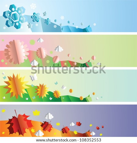 Paper cut-out four seasons banners set - stock vector