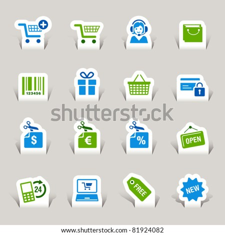 Paper cut - Shopping icons - stock vector