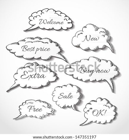 Paper-cut speech and thought bubbles in vintage style with realistic shadows. Vector illustration. - stock vector