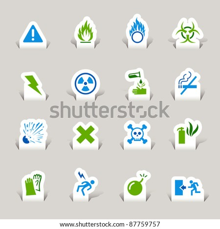 Paper Cut - Warning icons - stock vector