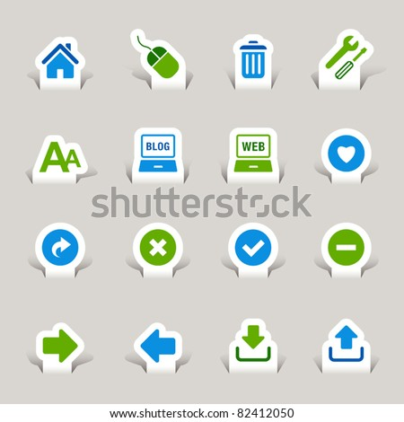 Paper Cut - Website and Internet Icons - stock vector