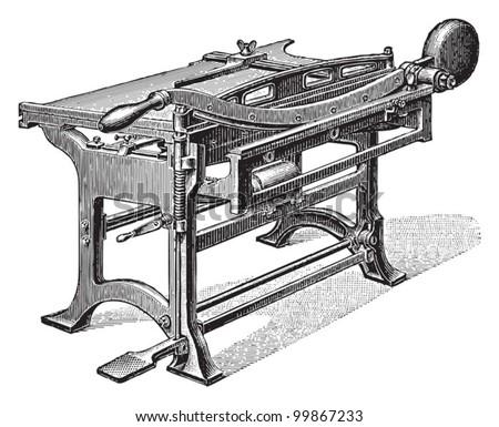 Paper cutting machine / vintage illustration from Meyers Konversations-Lexikon 1897 - stock vector