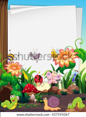 Paper design with insects in the garden illustration - stock vector