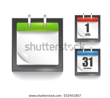 Paper diary template with the bending corner - stock vector