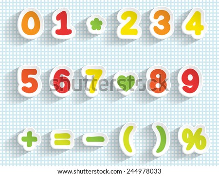 Paper digits and math signs. Handmade font. Easy to change color. Transparent editable shadows. Smartly grouped and layered. - stock vector