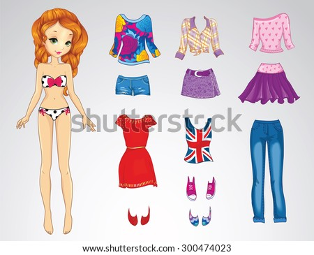 Paper doll of a young beautiful teenager girl with red hair and clothes for her - stock vector