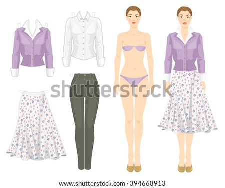 paper doll template woman - stock images similar to id 103641662 vector illustration