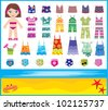 Paper doll with summer set of clothes.  vector, no gradient - stock vector