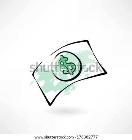 paper dollar grunge icon - stock vector