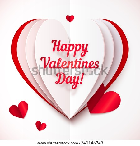 Paper folded vector heart with Happy Valentines Day text - stock vector