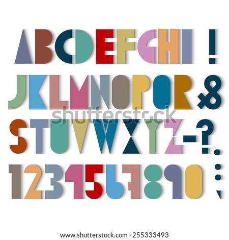 Paper font, numbers and punctuation mark with shadows. Vector set - stock vector
