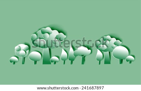 Paper forest - stock vector