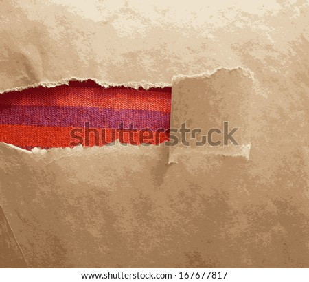 Paper frame texture with torn area and red tissue - stock vector