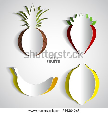 Paper Fruit Set cut out, pineapple, strawberry, banana, citron, mix design card illustration - stock vector