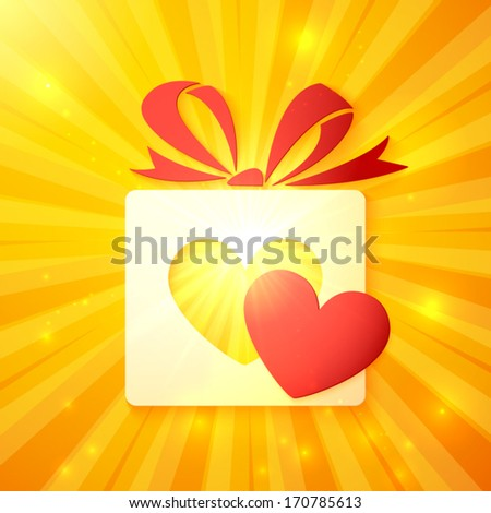 Paper gift box with cutout red heart on shining yellow vackground - stock vector