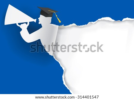 Paper Graduate with megaphone. Blue Graduation background with Paper graduate holding a megaphone with place for your text or image. Vector available.  - stock vector