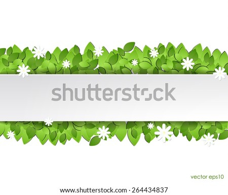 Paper green leaves with white flowers. vector eps10. - stock vector