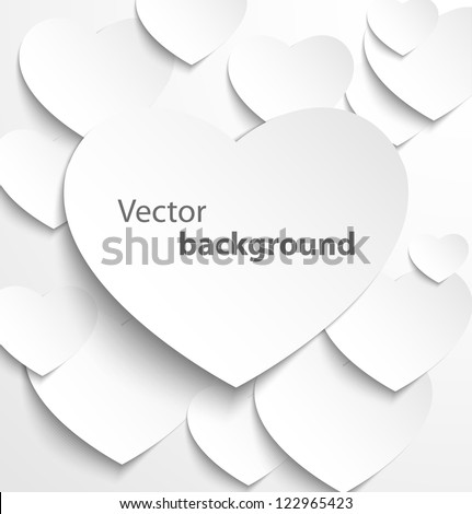 Paper heart banner with drop shadows on white background. Vector illustration - stock vector