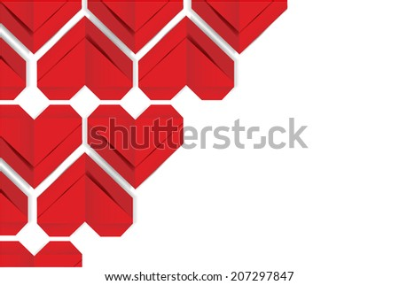 paper heart valentine's day background, vector - stock vector