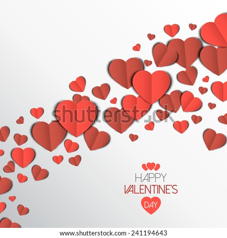 Paper heart Valentines day card. Can be used for wallpaper, canvas print, decoration, banner, advertising. Vector - stock vector