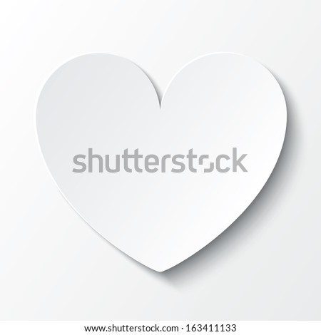 Paper heart Valentines day card on white background. Vector abstract background with heart. Paper heart cut from paper. - stock vector