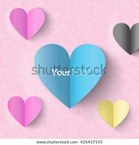 Paper Heart Vector Design Composition for Your Text - stock vector