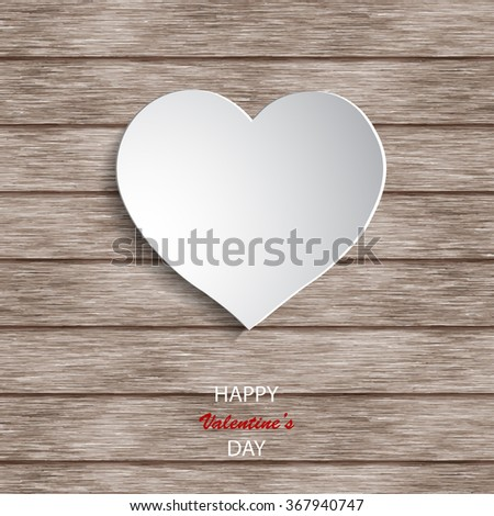 Paper hearts on wooden background. Valentines day. Abstract card - stock vector