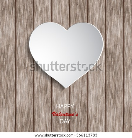 Paper hearts on wooden background. Valentines day. Abstract cards with paper hearts.  - stock vector