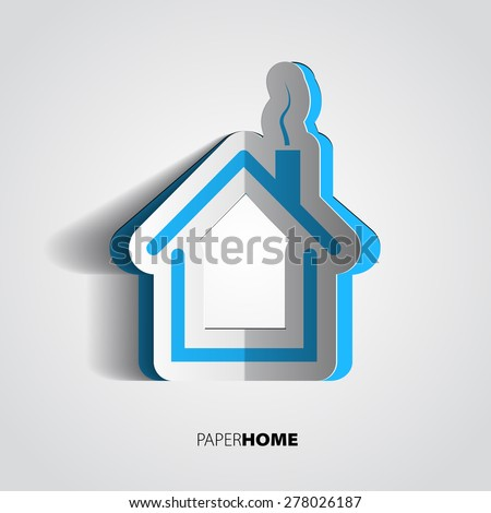 Paper home design, house icon or card in papercut style - stock vector