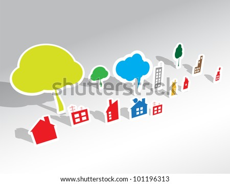 paper house vector background - stock vector