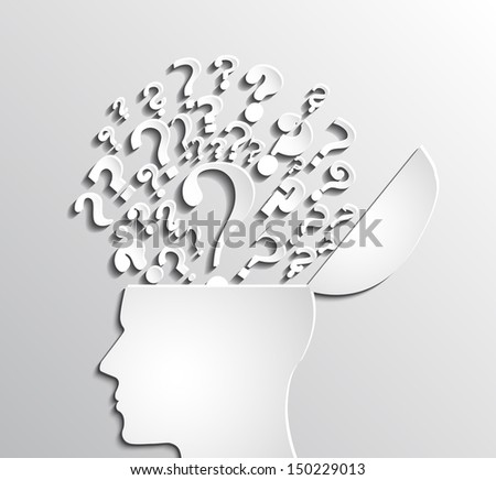 paper human head open with question marks / brainstorming / vector illustration eps 10 - stock vector