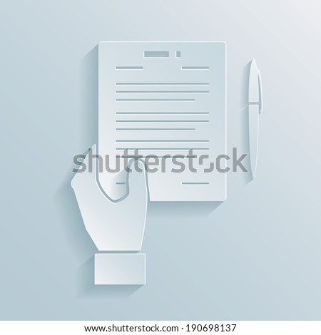 Paper icon of a hand holding a business offer  agreement or contract with a pen alongside for signing the deal - stock vector