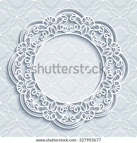 Paper lace background, vector round vignette, ornamental lacy frame, eps10 - stock vector