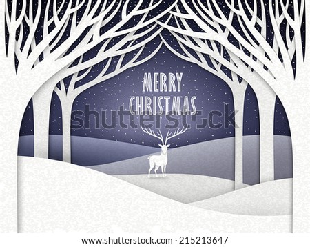 paper landscape of Christmas night with moose and forest  - stock vector