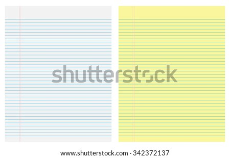 Paper leaves yellow and white  in line - stock vector