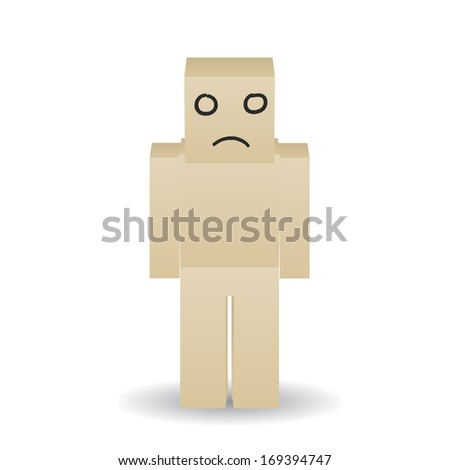 Paper man with a sad face painted marker - stock vector