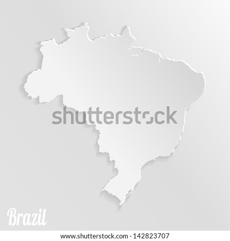 Paper map of Brazil - stock vector