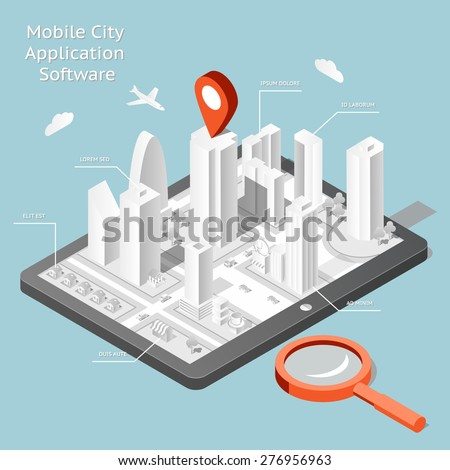 Paper mobile city navigation application software. Route internet gps, road and travel city. Vector illustration - stock vector