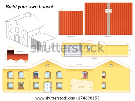 Paper model of a yellow house with garage - easy to make - print it on heavy paper, cut the pieces out, score and fold them and glue them together as depicted. - stock vector