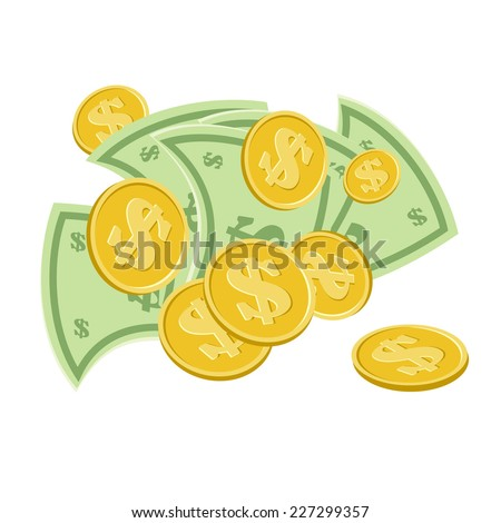 paper money and coins isolated on white background - stock vector