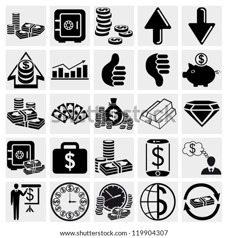Paper money, Banking, Business, Finance, Management and human resources set. Vector set - stock vector