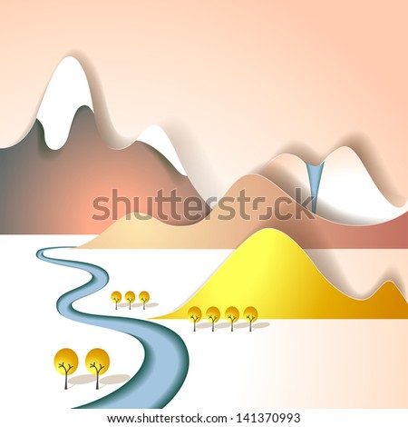 Paper mountain landscape - stock vector