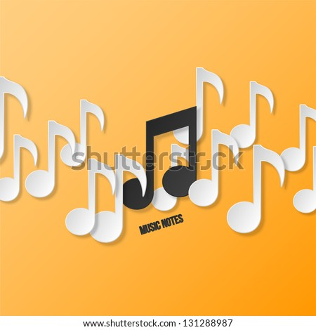 Paper music notes - stock vector