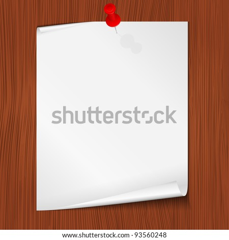 Paper note attached to the wall, vector eps10 illustration - stock vector