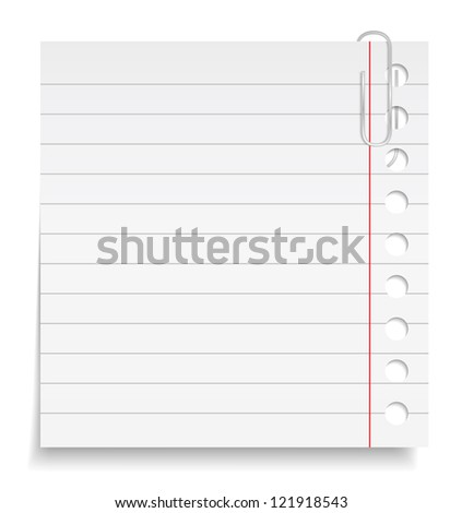 Paper note with clip, vector eps10 illustration - stock vector