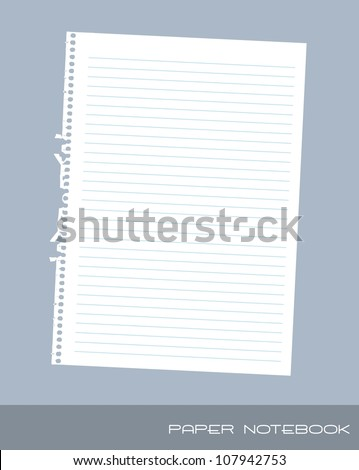 paper notebook over blue background. vector illustration - stock vector