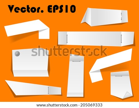 Paper notes and scraps attached with pins and stapler on orange background for any memo or remember concept - stock vector