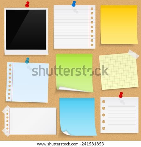 Paper notes, sticky papers an photo frames on bulletin board, vector eps10 illustration - stock vector