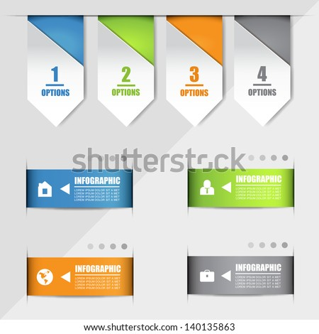 Paper Numbered Banners And Arrows Set - Isolated On Gray Background - Vector Illustration, Graphic Design Editable For Your Design. Modern Design Template Useful For Infographics And Logo Symbols  - stock vector